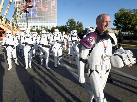 """SAN DIEGO, CA - JULY 10: Following the `Star Wars` Hall H presentation at Comic-Con International 2015 at the San Diego Convention Center in San Diego, Calif., 501st Legion member, Kevin Doyle and the audience of more than 6000 fans walked to a surprise `Star Wars` Fan Concert performed by the San Diego Symphony, featuring the classic """"Star Wars"""" music of composer John Williams, at the Embarcadero Marina Park South on July 10, 2015 in San Diego, California. (Photo by Michael Buckner/Getty Images for Disney) *** Local Caption *** Kevin Doyle"""