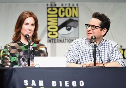 SAN DIEGO, CA - JULY 10: Producer Kathleen Kennedy (L) and director J.J. Abrams at the Hall H Panel for `Star Wars: The Force Awakens` during Comic-Con International 2015 at the San Diego Convention Center on July 10, 2015 in San Diego, California. (Photo by Michael Buckner/Getty Images for Disney) *** Local Caption *** Kathleen Kennedy; J.J. Abrams