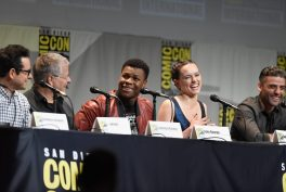 SAN DIEGO, CA - JULY 10: (L-R) Director J.J. Abrams, screenwriter Lawrence Kasdan and actors John Boyega, Daisy Ridley and Oscar Isaac at the Hall H Panel for `Star Wars: The Force Awakens` during Comic-Con International 2015 at the San Diego Convention Center on July 10, 2015 in San Diego, California. (Photo by Michael Buckner/Getty Images for Disney) *** Local Caption *** J.J. Abrams; Lawrence Kasdan; John Boyega; Daisy Ridley; Oscar Isaac