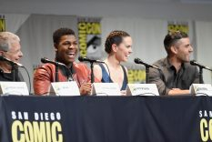 SAN DIEGO, CA - JULY 10: (L-R) Screenwriter Lawrence Kasdan and actors John Boyega, Daisy Ridley and Oscar Isaac at the Hall H Panel for `Star Wars: The Force Awakens` during Comic-Con International 2015 at the San Diego Convention Center on July 10, 2015 in San Diego, California. (Photo by Michael Buckner/Getty Images for Disney) *** Local Caption *** Lawrence Kasdan; John Boyega; Daisy Ridley; Oscar Isaac