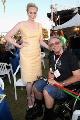 SAN DIEGO, CA - JULY 10: Actors Gwendoline Christie (L), Peter Mayhew and more than 6000 fans enjoyed a surprise `Star Wars` Fan Concert performed by the San Diego Symphony, featuring the classic `Star Wars` music of composer John Williams, at the Embarcadero Marina Park South on July 10, 2015 in San Diego, California. (Photo by Jesse Grant/Getty Images for Disney) *** Local Caption *** Gwendoline Christie; Peter Mayhew