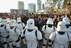 """SAN DIEGO, CA - JULY 10: Following the `Star Wars` Hall H presentation at Comic-Con International 2015 at the San Diego Convention Center in San Diego, Calif., the audience of more than 6000 fans walked to a surprise """"Star Wars"""" Fan Concert performed by the San Diego Symphony, featuring the classic `Star Wars` music of composer John Williams, at the Embarcadero Marina Park South on July 10, 2015 in San Diego, California. (Photo by Jesse Grant/Getty Images for Disney)"""