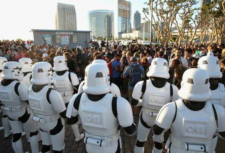 "SAN DIEGO, CA - JULY 10: Following the `Star Wars` Hall H presentation at Comic-Con International 2015 at the San Diego Convention Center in San Diego, Calif., the audience of more than 6000 fans walked to a surprise ""Star Wars"" Fan Concert performed by the San Diego Symphony, featuring the classic `Star Wars` music of composer John Williams, at the Embarcadero Marina Park South on July 10, 2015 in San Diego, California. (Photo by Jesse Grant/Getty Images for Disney)"