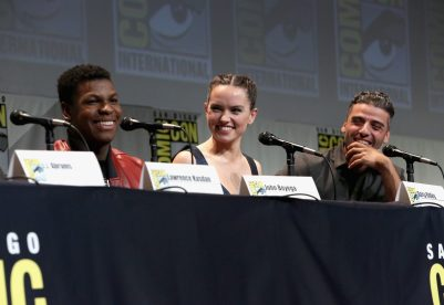SAN DIEGO, CA - JULY 10: (L-R) Actors John Boyega, Daisy Ridley and Oscar Isaac at the Hall H Panel for `Star Wars: The Force Awakens` during Comic-Con International 2015 at the San Diego Convention Center on July 10, 2015 in San Diego, California. (Photo by Jesse Grant/Getty Images for Disney) *** Local Caption *** John Boyega; Daisy Ridley; Oscar Isaac