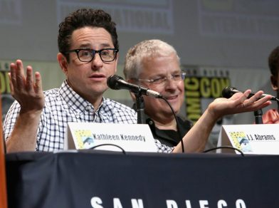 SAN DIEGO, CA - JULY 10: Director J.J. Abrams (L) and screenwriter Lawrence Kasdan at the Hall H Panel for `Star Wars: The Force Awakens` during Comic-Con International 2015 at the San Diego Convention Center on July 10, 2015 in San Diego, California. (Photo by Jesse Grant/Getty Images for Disney) *** Local Caption *** J.J. Abrams; Lawrence Kasdan