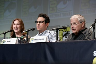 SAN DIEGO, CA - JULY 10: (L-R) Producer Kathleen Kennedy, director J.J. Abrams and screenwriter Lawrence Kasdan at the Hall H Panel for `Star Wars: The Force Awakens` during Comic-Con International 2015 at the San Diego Convention Center on July 10, 2015 in San Diego, California. (Photo by Jesse Grant/Getty Images for Disney) *** Local Caption *** Kathleen Kennedy; J.J. Abrams; Lawrence Kasdan