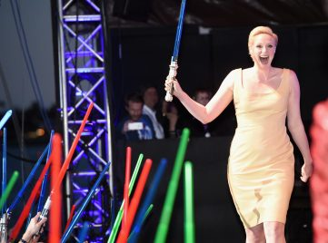 "SAN DIEGO, CA - JULY 10: Actress Gwendoline Christie and more than 6000 fans enjoyed a surprise ""Star Wars"" Fan Concert performed by the San Diego Symphony, featuring the classic ""Star Wars"" music of composer John Williams, at the Embarcadero Marina Park South on July 10, 2015 in San Diego, California. (Photo by Michael Buckner/Getty Images for Disney) *** Local Caption *** Gwendoline Christie"