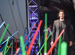 """SAN DIEGO, CA - JULY 10: Adam Driver and more than 6000 fans enjoyed a surprise """"Star Wars"""" Fan Concert performed by the San Diego Symphony, featuring the classic """"Star Wars"""" music of composer John Williams, at the Embarcadero Marina Park South on July 10, 2015 in San Diego, California. (Photo by Michael Buckner/Getty Images for Disney) *** Local Caption *** Adam Driver"""