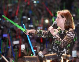 "SAN DIEGO, CA - JULY 10: Producer Kathleen Kennedy and more than 6000 fans enjoyed a surprise ""Star Wars"" Fan Concert performed by the San Diego Symphony, featuring the classic ""Star Wars"" music of composer John Williams, at the Embarcadero Marina Park South on July 10, 2015 in San Diego, California. (Photo by Michael Buckner/Getty Images for Disney) *** Local Caption *** Kathleen Kennedy"