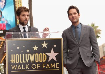 HOLLYWOOD, CA - JULY 01: Actor Adam Scott (L) honors actor Paul Rudd with a Star on The Hollywood Walk of Fame on July 1, 2015 in Hollywood, California. (Photo by Jesse Grant/Getty Images for Disney) *** Local Caption *** Adam Scott;Paul Rudd