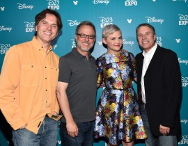 """ANAHEIM, CA - AUGUST 14: (L-R) Directors Byron Howard and Rich Moore, actress Ginnifer Goodwin and producer Clark Spencer of ZOOTOPIA took part today in """"Pixar and Walt Disney Animation Studios: The Upcoming Films"""" presentation at Disney's D23 EXPO 2015 in Anaheim, Calif. (Photo by Alberto E. Rodriguez/Getty Images for Disney) *** Local Caption *** Ginnifer Goodwin; Byron Howard; Rich Howard; Clark Spencer"""