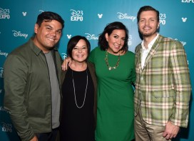 """ANAHEIM, CA - AUGUST 14: (L-R) Songwriter Bobby Lopez, producer Dorothy McKim, songwriter Kristen Anderson-Lopez and director Nathan Greno of GIGANTIC took part today in """"Pixar and Walt Disney Animation Studios: The Upcoming Films"""" presentation at Disney's D23 EXPO 2015 in Anaheim, Calif. (Photo by Alberto E. Rodriguez/Getty Images for Disney) *** Local Caption *** Bobby Lopez; Nathan Greno; Dorothy McKim; Kristen Anderson-Lopez"""