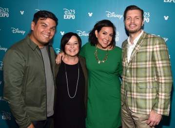 "ANAHEIM, CA - AUGUST 14: (L-R) Songwriter Bobby Lopez, producer Dorothy McKim, songwriter Kristen Anderson-Lopez and director Nathan Greno of GIGANTIC took part today in ""Pixar and Walt Disney Animation Studios: The Upcoming Films"" presentation at Disney's D23 EXPO 2015 in Anaheim, Calif. (Photo by Alberto E. Rodriguez/Getty Images for Disney) *** Local Caption *** Bobby Lopez; Nathan Greno; Dorothy McKim; Kristen Anderson-Lopez"