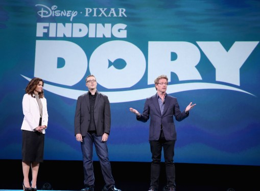 "ANAHEIM, CA - AUGUST 14: (L-R) Producer Lindsey Collins and directors Angus MacLane and Andrew Stanton of FINDING DORY took part today in ""Pixar and Walt Disney Animation Studios: The Upcoming Films"" presentation at Disney's D23 EXPO 2015 in Anaheim, Calif. (Photo by Jesse Grant/Getty Images for Disney) *** Local Caption *** Lindsey Collins; Angus MacLane; Andrew Stanton"