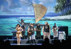 """ANAHEIM, CA - AUGUST 14: Singer/songwriter Opetaia Foa'i and music group Te Vaka of MOANA took part today in """"Pixar and Walt Disney Animation Studios: The Upcoming Films"""" presentation at Disney's D23 EXPO 2015 in Anaheim, Calif. (Photo by Jesse Grant/Getty Images for Disney) *** Local Caption *** Opetaia Foa'i"""
