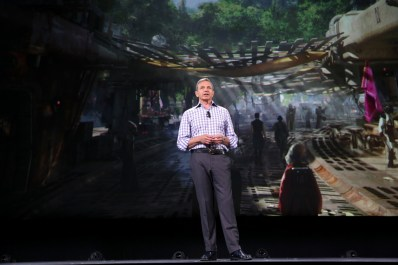 """ANAHEIM, CA - AUGUST 15: The Walt Disney Company Chairman and CEO Bob Iger took part today in """"Worlds, Galaxies, and Universes: Live Action at The Walt Disney Studios"""" presentation at Disney's D23 EXPO 2015 in Anaheim, Calif. (Photo by Jesse Grant/Getty Images for Disney) *** Local Caption *** Bob Iger"""