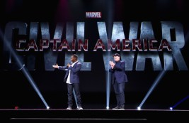 "ANAHEIM, CA - AUGUST 15: Actor Anthony Mackie (L) and Producer Kevin Feige of CAPTAIN AMERICA: CIVIL WAR took part today in ""Worlds, Galaxies, and Universes: Live Action at The Walt Disney Studios"" presentation at Disney's D23 EXPO 2015 in Anaheim, Calif. (Photo by Jesse Grant/Getty Images for Disney) *** Local Caption *** Anthony Mackie; Kevin Feige"