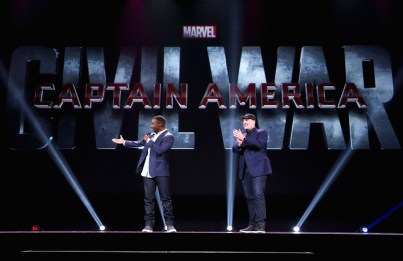 """ANAHEIM, CA - AUGUST 15: Actor Anthony Mackie (L) and Producer Kevin Feige of CAPTAIN AMERICA: CIVIL WAR took part today in """"Worlds, Galaxies, and Universes: Live Action at The Walt Disney Studios"""" presentation at Disney's D23 EXPO 2015 in Anaheim, Calif. (Photo by Jesse Grant/Getty Images for Disney) *** Local Caption *** Anthony Mackie; Kevin Feige"""