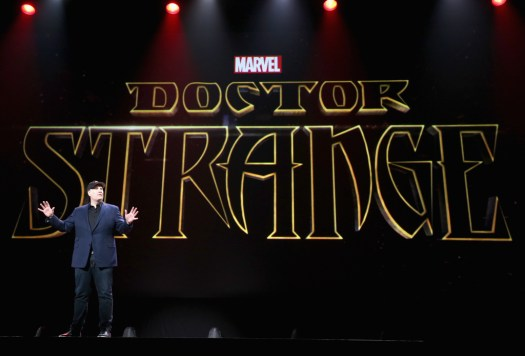 "ANAHEIM, CA - AUGUST 15: Producer Kevin Feige of CAPTAIN AMERICA: CIVIL WAR took part today in ""Worlds, Galaxies, and Universes: Live Action at The Walt Disney Studios"" presentation at Disney's D23 EXPO 2015 in Anaheim, Calif. (Photo by Jesse Grant/Getty Images for Disney) *** Local Caption *** Kevin Feige"