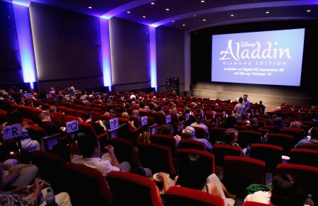 "BURBANK, CA - SEPTEMBER 27: A view of the atmosphere during a special LA screening celebrating Diamond Edition release of ""ALADDIN"" at The Walt Disney Studios on September 27, 2015 in Burbank, California. (Photo by Jesse Grant/Getty Images for Disney)"