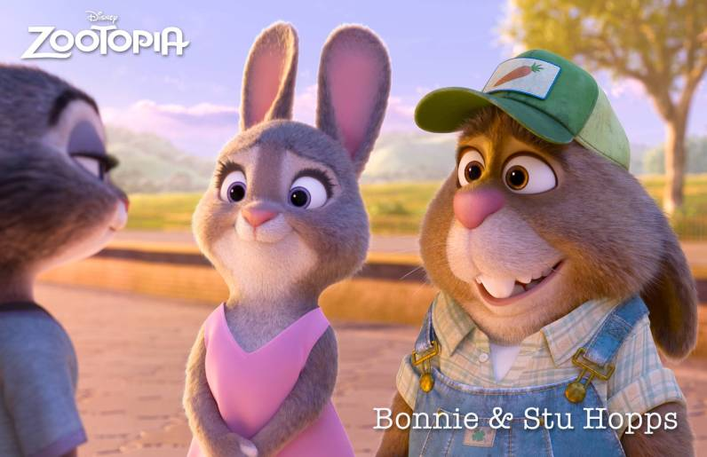 ZOOTOPIA – (Left) BONNIE HOPPS, mother of Judy—and her 275 brothers and sisters. Mrs. Hopps loves and supports her daughter, but is a hare nervous about Judy moving to Zootopia to become a big-city police officer. (Right) Judy's father, STU HOPPS, a carrot farmer from Bunnyburrow. Along with Mrs. Hopps, he is worried about Judy moving to Zootopia and the untrustworthy big-city mammals who live there—especially foxes. ©2015 Disney. All Rights Reserved.