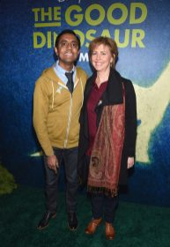 """HOLLYWOOD, CA - NOVEMBER 17: """"Sanjay's Super Team"""" Director Sanjay Patel (L) and producer Nicole Paradis Grindle attend the World Premiere Of Disney-Pixar's THE GOOD DINOSAUR at the El Capitan Theatre on November 17, 2015 in Hollywood, California. (Photo by Alberto E. Rodriguez/Getty Images for Disney) *** Local Caption *** Sanjay Patel; Nicole Paradis Grindle"""
