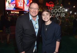 HOLLYWOOD, CA - NOVEMBER 17: Executive Producer John Lasseter (L) and actor Raymond Ochoa attend the World Premiere Of Disney-Pixar's THE GOOD DINOSAUR at the El Capitan Theatre on November 17, 2015 in Hollywood, California. (Photo by Alberto E. Rodriguez/Getty Images for Disney) *** Local Caption *** John Lasseter; Raymond Ochoa
