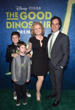 HOLLYWOOD, CA - NOVEMBER 17: Screenwriter Meg LeFauve (center), and filmmaker Joe Forte with children Aidan and Julian attend the World Premiere Of Disney-Pixar's THE GOOD DINOSAUR at the El Capitan Theatre on November 17, 2015 in Hollywood, California. (Photo by Alberto E. Rodriguez/Getty Images for Disney) *** Local Caption *** Meg LeFauve; Joe Forte