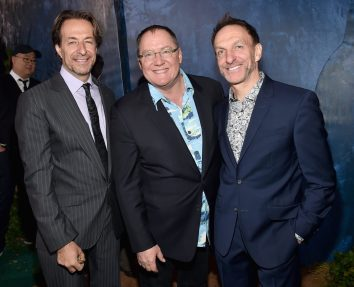 HOLLYWOOD, CA - NOVEMBER 17: (L-R) ComposerJeff Danna, executive producer John Lasseter and composer Mychael Danna attend the World Premiere Of Disney-Pixar's THE GOOD DINOSAUR at the El Capitan Theatre on November 17, 2015 in Hollywood, California. (Photo by Alberto E. Rodriguez/Getty Images for Disney) *** Local Caption *** John Lasseter; Jeff Danna; Mychael Danna