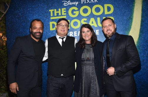 HOLLYWOOD, CA - NOVEMBER 17: (L-R) Actor Jeffrey Wright, director Peter Sohn, producer Denise Ream and actor A.J. Buckley attend the World Premiere Of Disney-Pixar's THE GOOD DINOSAUR at the El Capitan Theatre on November 17, 2015 in Hollywood, California. (Photo by Alberto E. Rodriguez/Getty Images for Disney) *** Local Caption *** Denise Ream; Peter Sohn; A.J. Buckley; Jeffrey Wright