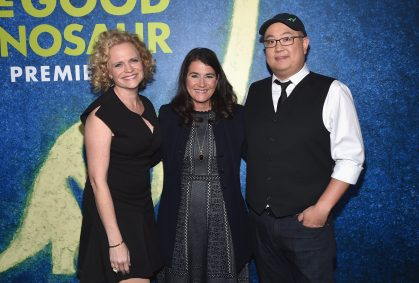HOLLYWOOD, CA - NOVEMBER 17: (L-R) Screenwriter Meg LeFauve, producer Denise Ream and director Peter Sohn attend the World Premiere Of Disney-Pixar's THE GOOD DINOSAUR at the El Capitan Theatre on November 17, 2015 in Hollywood, California. (Photo by Alberto E. Rodriguez/Getty Images for Disney) *** Local Caption *** Denise Ream; Peter Sohn; Meg LeFauve