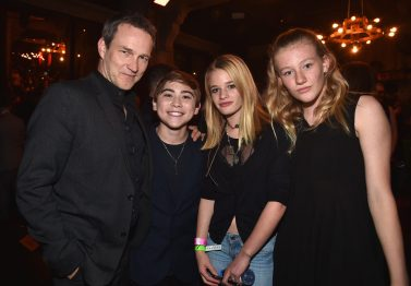 HOLLYWOOD, CA - NOVEMBER 17: (L-R) Actors Stephen Moyer and Raymond Ochoa with Lilac Moyer and Poppy Moyer at the World Premiere Of Disney-Pixar's THE GOOD DINOSAUR at the El Capitan Theatre on November 17, 2015 in Hollywood, California. (Photo by Alberto E. Rodriguez/Getty Images for Disney) *** Local Caption *** Stephen Moyer; Raymond Ochoa; Lilac Moyer; Poppy Moyer