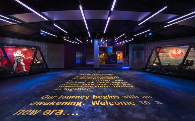 "STAR WARS LAUNCH BAY -- In the heart of Tomorrowland, Star Wars Launch Bay is the central locale for guests to celebrate all things Star Wars. Disneyland park guests are welcomed to this multi-sensory space with the iconic phrase, ""A long time ago in a galaxy far, far away.…"" Once inside, they may encounter beloved Star Wars characters, play the latest Star Wars interactive video games, explore galleries full of treasured memorabilia and authentic replicas of large-scale Star Wars artifacts, step into a Star Wars-themed cantina, and have access to Star Wars merchandise. (Paul Hiffmeyer/Disneyland Resort)"