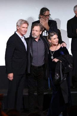 HOLLYWOOD, CA - DECEMBER 14: (L-R) Actors Harrison Ford, Mark Hamill and Carrie Fisher attend the World Premiere of ?Star Wars: The Force Awakens? at the Dolby, El Capitan, and TCL Theatres on December 14, 2015 in Hollywood, California. (Photo by Jesse Grant/Getty Images for Disney) *** Local Caption *** Harrison Ford;Mark Hamill;Carrie Fisher