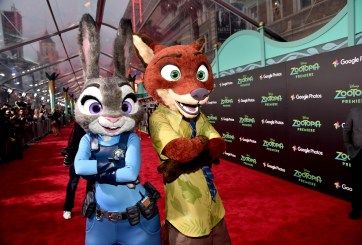 "HOLLYWOOD, CA - FEBRUARY 17: Judy Hopps (L) and Nick Wilde characters pose during the Los Angeles premiere of Walt Disney Animation Studios' ""Zootopia"" on February 17, 2016 in Hollywood, California. (Photo by Alberto E. Rodriguez/Getty Images for Disney)"