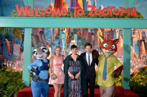 """HOLLYWOOD, CA - FEBRUARY 17: (L-R) Singer Shakira and actors Ginnifer Goodwin and Jason Bateman pose with Nick Wilde and Judy Hopps characters during the Los Angeles premiere of Walt Disney Animation Studios' """"Zootopia"""" on February 17, 2016 in Hollywood, California. (Photo by Charley Gallay/Getty Images for Disney) *** Local Caption *** Shakira; Ginnifer Goodwin; Jason Bateman"""