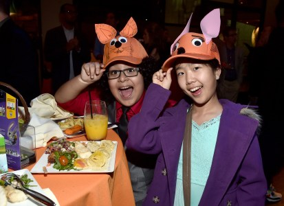 """HOLLYWOOD, CA - FEBRUARY 17: Actress Nina Lu (R) attends the Los Angeles premiere of Walt Disney Animation Studios' """"Zootopia"""" on February 17, 2016 in Hollywood, California. (Photo by Alberto E. Rodriguez/Getty Images for Disney) *** Local Caption *** Nina Lu"""