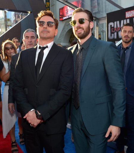 """HOLLYWOOD, CALIFORNIA - APRIL 12: Actors Robert Downey Jr. (L) and Chris Evans attend The World Premiere of Marvel's """"Captain America: Civil War"""" at Dolby Theatre on April 12, 2016 in Los Angeles, California. (Photo by Charley Gallay/Getty Images for Disney) *** Local Caption *** Robert Downey Jr.; Chris Evans"""