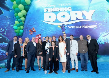 HOLLYWOOD, CA - JUNE 08: (L-R) Actor Bob Peterson, executive producer John Lasseter, actors Kaitlin Olson, John Ratzenberger, screenwriter Victoria Strouse, actors Albert Brooks, Ellen DeGeneres, Director/screenwriter Andrew Stanton, actor Hayden Rolence, producer Lindsey Collins, co-director Angus MacLane, actors Ty Burrell, Ed O'Neill and Eugene Levy attend The World Premiere of Disney-Pixar's FINDING DORY on Wednesday, June 8, 2016 in Hollywood, California. (Photo by Jesse Grant/Getty Images for Disney ) *** Local Caption *** Bob Peterson; John Lasseter; Kaitlin Olson; John Ratzenberger; Victoria Strouse; Albert Brooks; Ellen DeGeneres; Andrew Stanton; Hayden Rolence; Lindsey Collins; Angus MacLane; Ty Burrell; Ed O'Neill; Eugene Levy