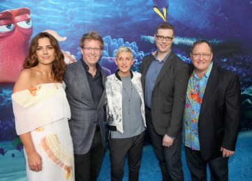 HOLLYWOOD, CA - JUNE 08: (L-R) Producer Lindsey Collins, director/screenwriter Andrew Stanton, actress Ellen DeGeneres, co-director Angus MacLane and executive producer John Lasseter attend The World Premiere of Disney-Pixar's FINDING DORY on Wednesday, June 8, 2016 in Hollywood, California. (Photo by Jesse Grant/Getty Images for Disney ) *** Local Caption *** Lindsey Collins; Andrew Stanton; Ellen DeGeneres; Angus MacLane; John Lasseter
