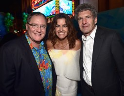 HOLLYWOOD, CA - JUNE 08: (L-R) Executive producer John Lasseter, producer Lindsey Collins and Chairman, The Walt Disney Studios, Alan Horn attend The World Premiere of Disney-Pixar's FINDING DORY on Wednesday, June 8, 2016 in Hollywood, California. (Photo by Alberto E. Rodriguez/Getty Images for Disney) *** Local Caption *** John Lasseter; Lindsey Collins; Alan Horn