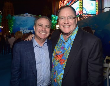 HOLLYWOOD, CA - JUNE 08: Walt Disney Studios President Alan Bergman (L) and Executive producer John Lasseter attend The World Premiere of Disney-Pixar's FINDING DORY on Wednesday, June 8, 2016 in Hollywood, California. (Photo by Alberto E. Rodriguez/Getty Images for Disney) *** Local Caption *** Alan Bergman; John Lasseter