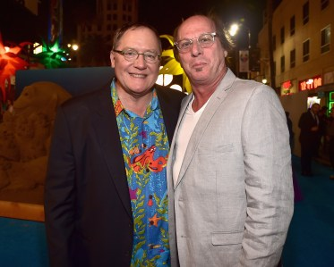 HOLLYWOOD, CA - JUNE 08: Executive producer John Lasseter (L) and Composer of 'Piper', Pixar Animation Studios' new short, Adrian Belew attend The World Premiere of Disney-Pixar's FINDING DORY on Wednesday, June 8, 2016 in Hollywood, California. (Photo by Alberto E. Rodriguez/Getty Images for Disney) *** Local Caption *** John Lasseter; Adrian Belew