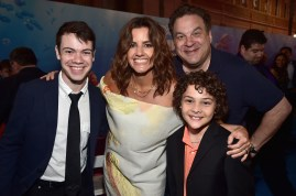 HOLLYWOOD, CA - JUNE 08: (L-R) Actor Alexander Gould, producer Lindsey Collins, actors Jeff Garlin and Hayden Rolence attend The World Premiere of Disney-Pixar's FINDING DORY on Wednesday, June 8, 2016 in Hollywood, California. (Photo by Alberto E. Rodriguez/Getty Images for Disney) *** Local Caption *** Alexander Gould; Lindsey Collins; Jeff Garlin; Hayden Rolence