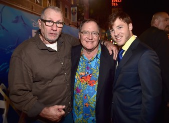 HOLLYWOOD, CA - JUNE 08: (L-R) Actor Ed O'Neill, Executive producer John Lasseter and director Bennett Lasseter attend The World Premiere of Disney-Pixar's FINDING DORY on Wednesday, June 8, 2016 in Hollywood, California. (Photo by Alberto E. Rodriguez/Getty Images for Disney) *** Local Caption *** Ed O'Neill; John Lasseter; Bennett Lasseter