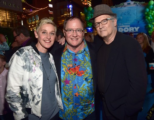 HOLLYWOOD, CA - JUNE 08: (L-R) Actress Ellen DeGeneres, Executive producer John Lasseter and actor Albert Brooks attend The World Premiere of Disney-Pixar's FINDING DORY on Wednesday, June 8, 2016 in Hollywood, California. (Photo by Alberto E. Rodriguez/Getty Images for Disney) *** Local Caption *** Ellen DeGeneres; John Lasseter; Albert Brooks