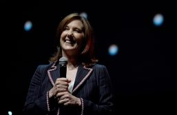 LONDON, ENGLAND - JULY 15: Kathleen Kennedy on stage during the Rogue One Panel at the Star Wars Celebration 2016 at ExCel on July 15, 2016 in London, England. (Photo by Ben A. Pruchnie/Getty Images for Walt Disney Studios) *** Local Caption *** Kathleen Kennedy