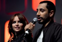 LONDON, ENGLAND - JULY 15: Felicity Jones and Riz Ahmed on stage during the Rogue One Panel at the Star Wars Celebration 2016 at ExCel on July 15, 2016 in London, England. (Photo by Ben A. Pruchnie/Getty Images for Walt Disney Studios) *** Local Caption *** Felicity Jones; Riz Ahmed