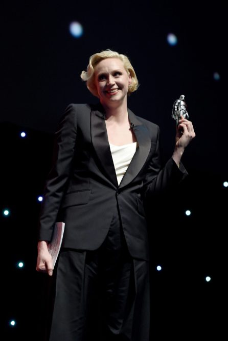 LONDON, ENGLAND - JULY 15: Host Gwendoline Christie on stage during the Rogue One Panel at the Star Wars Celebration 2016 at ExCel on July 15, 2016 in London, England. (Photo by Ben A. Pruchnie/Getty Images for Walt Disney Studios) *** Local Caption *** Gwendoline Christie
