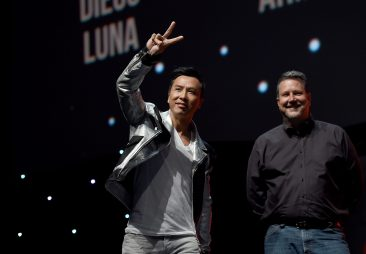 LONDON, ENGLAND - JULY 15: Donnie Yen and John Knoll on stage during the Rogue One Panel at the Star Wars Celebration 2016 at ExCel on July 15, 2016 in London, England. (Photo by Ben A. Pruchnie/Getty Images for Walt Disney Studios) *** Local Caption *** Donnie Yen; John Knoll